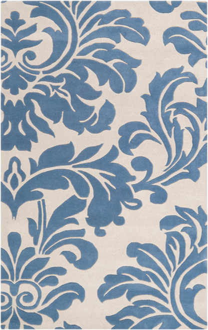 12' x 15' Falling Leaves Damask Slate Blue and Off-White Wool Area Throw Rug - IMAGE 1