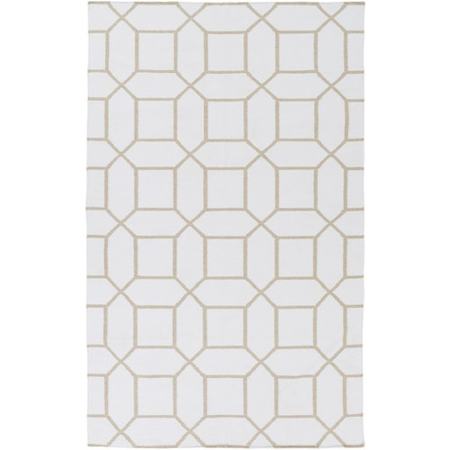 2' x 3' Innocuous Octagons Ivory and Beige Hand Woven Outdoor Area Throw Rug - IMAGE 1