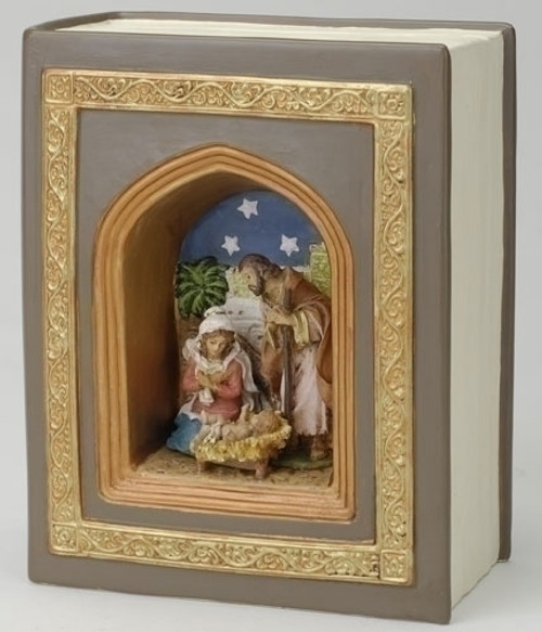 """6.25"""" Brown and Blue Holy Family Nativity Musical Book Decor - IMAGE 1"""