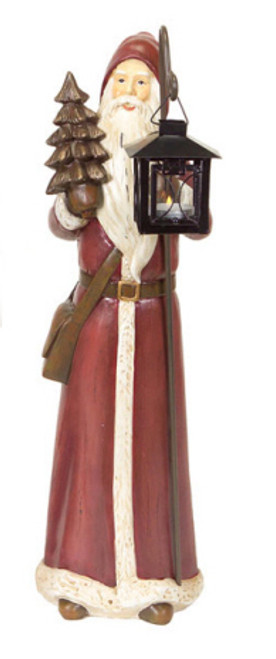 """20"""" Brown Santa Claus Tabletop Figurine with Christmas Tree and Votive Candle Holder - IMAGE 1"""