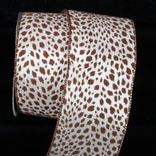 "Chocolate Brown and White Wire Edged Craft Ribbon 3"" x 20 Yards - IMAGE 1"
