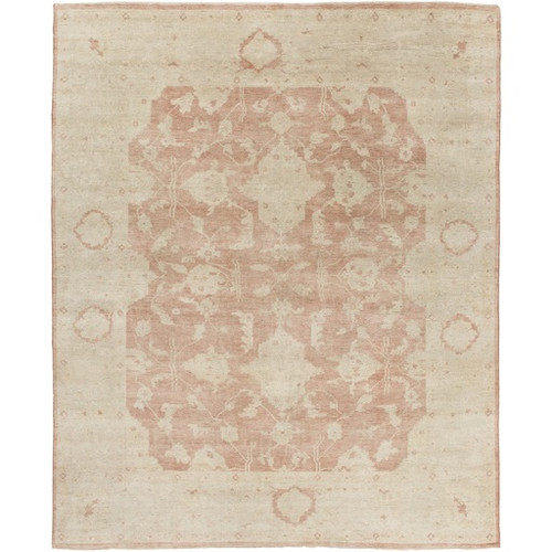 8' x 10' Distant Memories Blush Red and Ivory Hand Knotted Wool Area Throw Rug - IMAGE 1