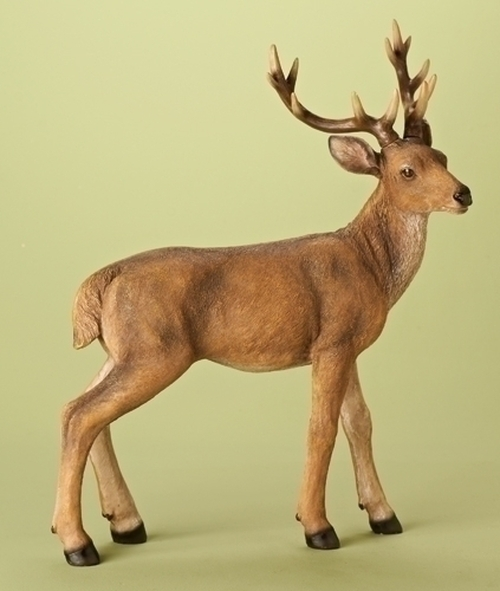 """23.75"""" Richly Detailed Standing Brown Buck Woodland Christmas Figure - IMAGE 1"""