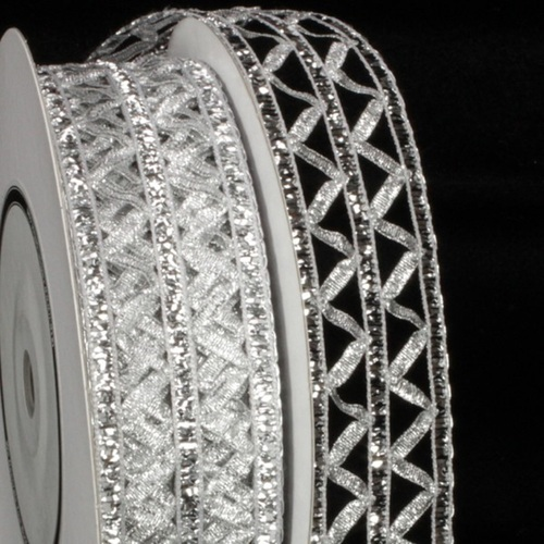 """Silver Istanbul Open Weave Wired Craft Ribbon 1.5"""" x 27 Yards - IMAGE 1"""