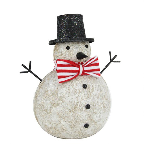 """8.25"""" Red and White Glitter Snowman with Top Hat and Bow Tie Christmas Table Top Figure - IMAGE 1"""