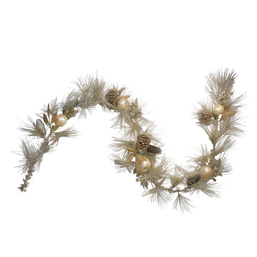 """6.5' x 9"""" Pomegranate and Apple Pine Needle Artificial Christmas Garland - Unlit - IMAGE 1"""