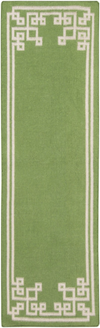 2.5' x 8' Green and Platinum Gray Hand Woven Area Throw Rug Runner - IMAGE 1