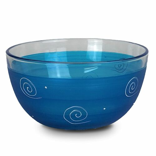"""Set of 2 Turquoise and Clear Hand Painted Glass Serving Bowls 6"""" - IMAGE 1"""
