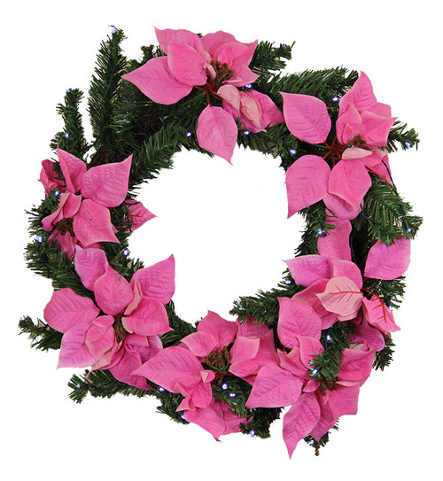 "22"" Pre-Lit Poinsettia Battery Operated Artificial Christmas Wreath - Clear LED Lights - IMAGE 1"