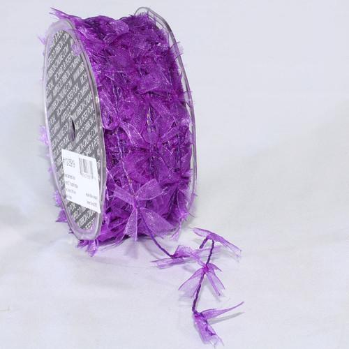 "Sheer Purple Wired Craft Ribbon Garland 1"" x 27 Yards - IMAGE 1"
