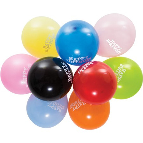 """Club Pack of 180 Multi-Colored Happy Birthday Round Latex Party Balloons 18"""" - IMAGE 1"""