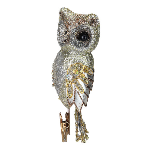 """10"""" In the Birches Gold Glittered and Sequined Owl Clip-On Christmas Ornament - IMAGE 1"""
