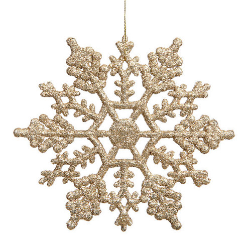 "Club Pack of 24 Champagne Gold Shatterproof Glitter Snowflake Christmas Ornaments 4"" - IMAGE 1"