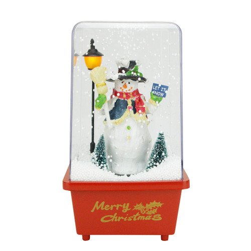 """11.5"""" Musical """"Let it Snow"""" Snowman Christmas Snow Globe Glittering Snow Dome - IMAGE 1"""