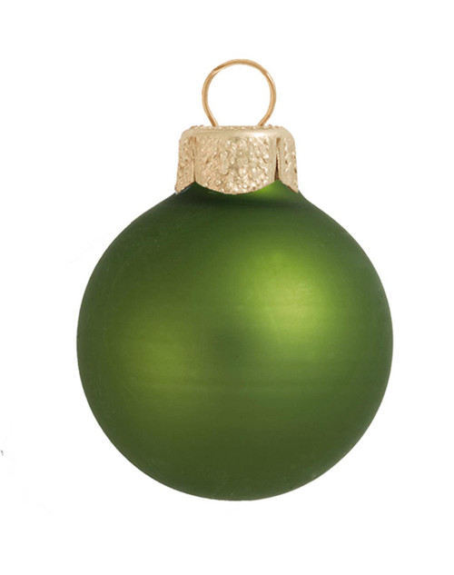 "2ct Lime Green Matte Glass Christmas Ball Ornaments 6"" (150mm) - IMAGE 1"