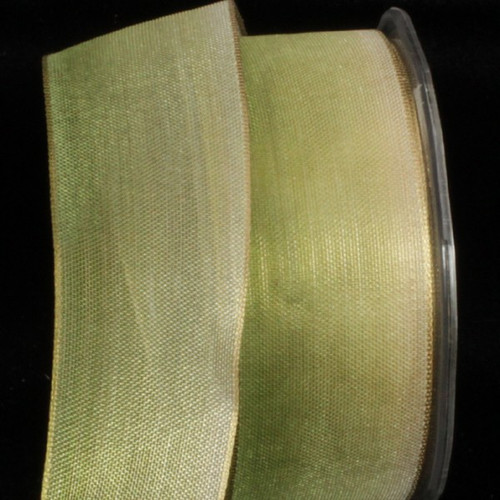 """Apple Green and Gold Ombre Metallic Wired Craft Ribbon 1.5"""" x 27 Yards - IMAGE 1"""