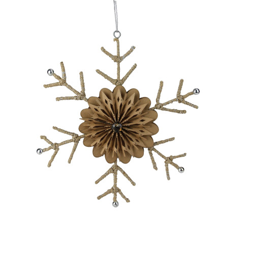 """10"""" Brown and Silver Rustic Snowflake Christmas Ornament - IMAGE 1"""