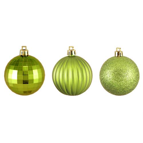 "100ct Kiwi Green Shatterproof 3-Finish Christmas Ball Ornaments 2.5"" (60mm) - IMAGE 1"