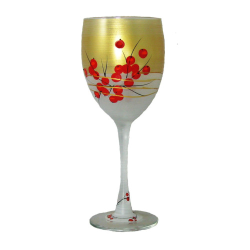 Set of 2 Gold and Red Berries Hand Painted Wine Drinking Glasses 10.5 oz. - IMAGE 1