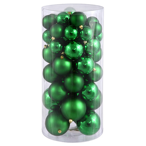 "50ct Emerald Green Shatterproof 2-Finish Christmas Ball Ornaments 4"" (100mm) - IMAGE 1"