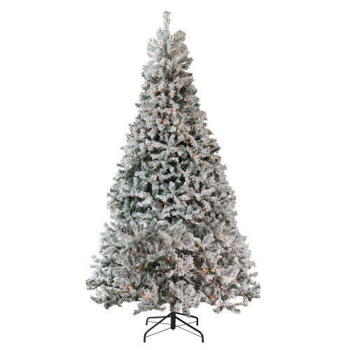 12' Pre-Lit Heavily Flocked Pine Medium Artificial Christmas Tree - Clear Lights - IMAGE 1