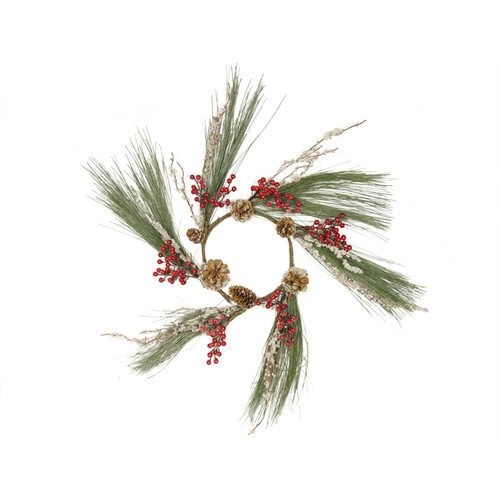 Red and Green Frosted Berries Pine Cone Artificial Christmas Wreath - 20-Inch,Unlit - IMAGE 1
