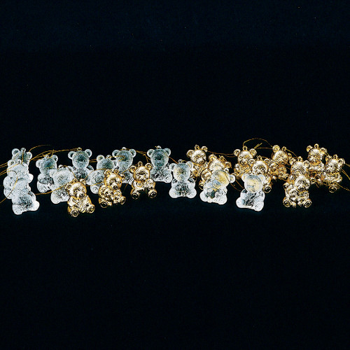"Club Pack of 96 Clear and Gold Assorted Teddy Bear Ornaments 1.5"" - IMAGE 1"
