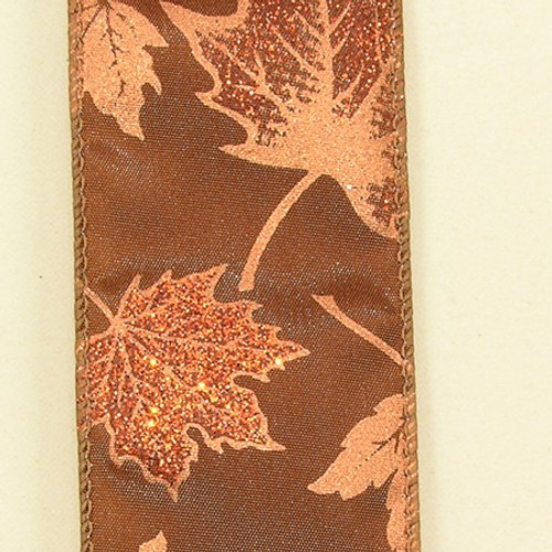 """Brown Fall Maple Leaf Wired Craft Ribbon 2"""" x 40 Yards - IMAGE 1"""