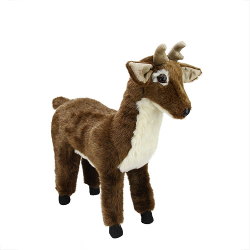 "21.5"" Brown and White Standing Deer Stuffed Animal Footrest Ottoman - IMAGE 1"