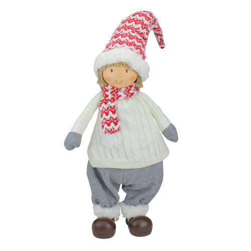 """24.5"""" Ivory, Red, and Gray Cheerful Young Boy Gnome Christmas Decoration - IMAGE 1"""