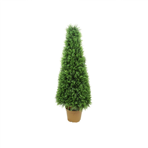4' Potted Two Tone Cypress Artificial Tower Cone Topiary Tree - Unlit - IMAGE 1