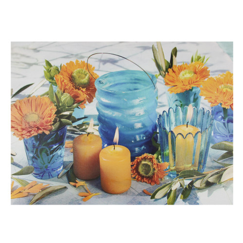 """15.75"""" LED Flickering Candles and Flowers Glass Candles Canvas Wall Art - IMAGE 1"""