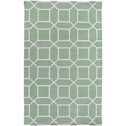 3.5' x 5.5' Innocuous Octagons Sage Green and White Hand Woven Outdoor Area Throw Rug - IMAGE 1
