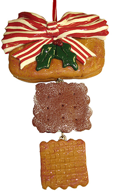 """6"""" Beige and Brown Holly Berry Cookie Christmas Ornament - IMAGE 1"""