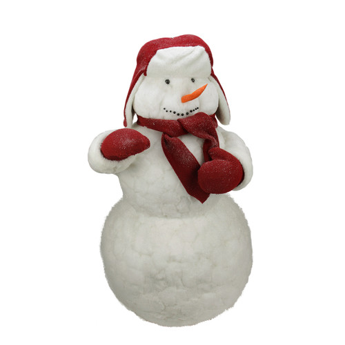 """42"""" White and Red Fluffy Sparkling Glittered Plush Christmas Snowman Figurine - IMAGE 1"""