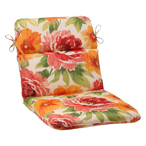 """40.5"""" Red and Orange Floral Outdoor Patio Rounded Chair Cushion - IMAGE 1"""