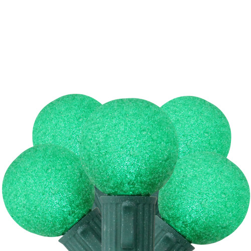 10 Green Battery Operated Sugared LED G30 Christmas Lights - 9 ft Green Wire - IMAGE 1