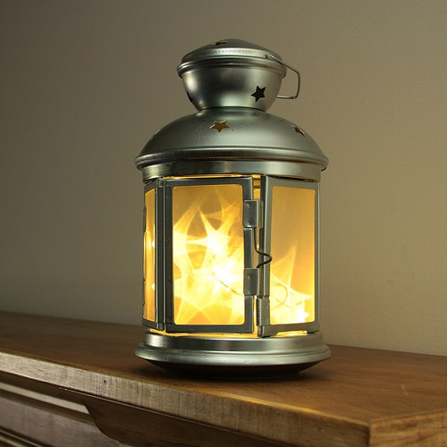 "8.25"" LED Lighted Invisilite Holographic Star Hanging Silver Lantern - IMAGE 1"