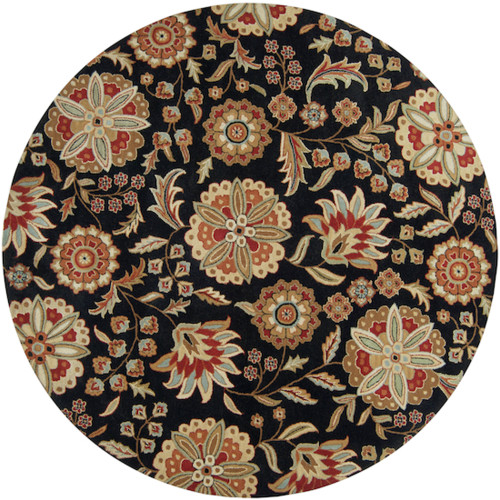 4' Black and Red Hand-Tufted Round Wool Area Throw Rug - IMAGE 1