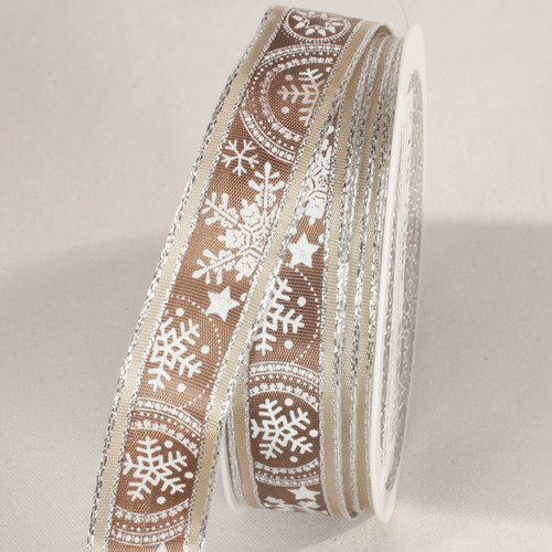 """St of 2 Brown and Silver Snow Stars Wired Craft Ribbon 0.75"""" x 44 Yards - IMAGE 1"""