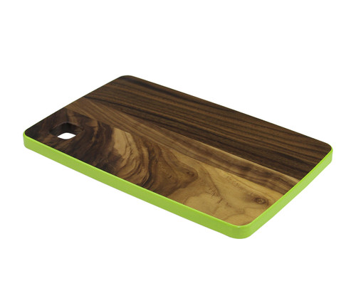 """12.5"""" Brown and Green Handcrafted Rectangular Cutting Board - IMAGE 1"""