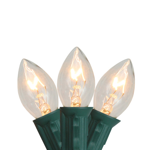 Set of 25 C7 Clear Christmas Lights - 24 ft Green Wire - IMAGE 1