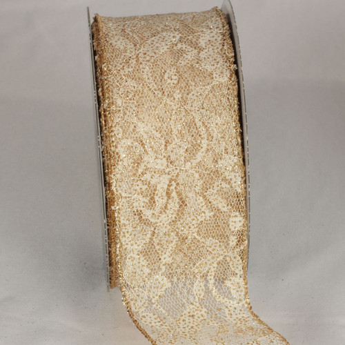 """Gold Floral Print Lace Craft Ribbon 2.5"""" x 20 Yards - IMAGE 1"""
