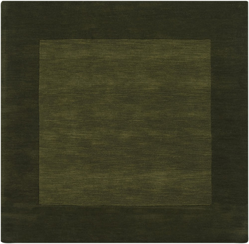 8' x 8' Solid Olive Green Hand Loomed Square Wool Area Throw Rug - IMAGE 1