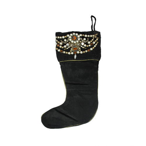 """20"""" Black and Gold Pearl Beaded Christmas Stocking - IMAGE 1"""