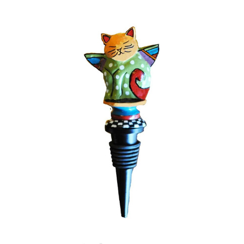 """Set of 2 Blue and White Whimsical Cat with Wings Bottle Stoppers 6"""" - IMAGE 1"""