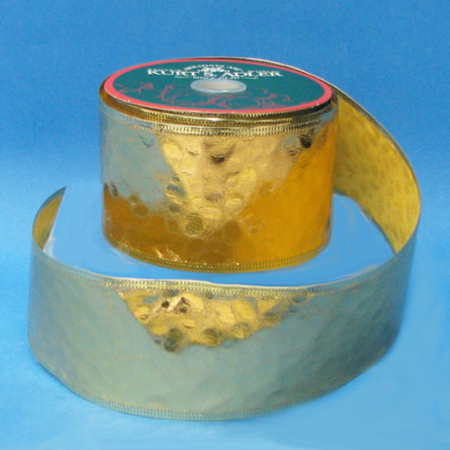 """Gold Embossed Solid Christmas Wired Craft Ribbon 2.5"""" x 10 Yards - IMAGE 1"""