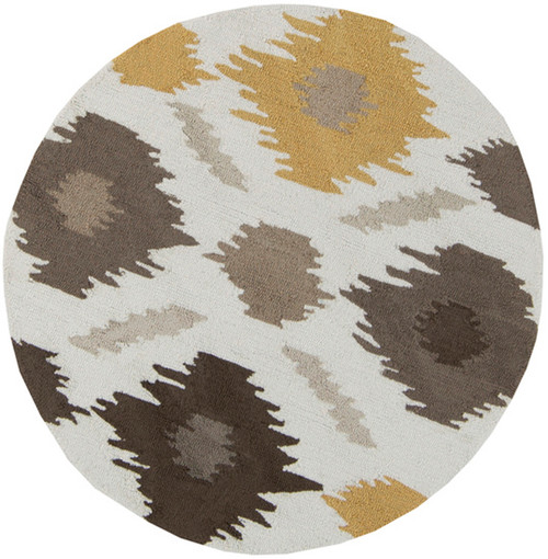 4' White and Gray Hand Hooked Round Area Throw Rug - IMAGE 1