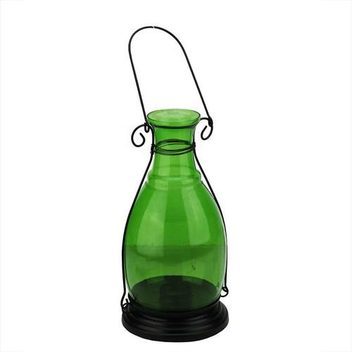 "10.5"" Transparent Green Decorative Glass Bottle Vase Tea Light Candle Lantern - IMAGE 1"