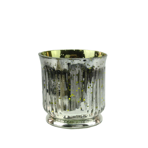 """Set of 4 Lime Green and Silver Ribbed Mercury Glass Decorative Votive Candle Holders 3.25"""" - IMAGE 1"""